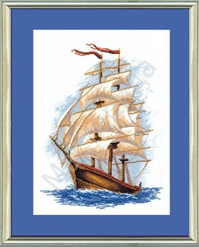Корабль парусник в вышивке 132